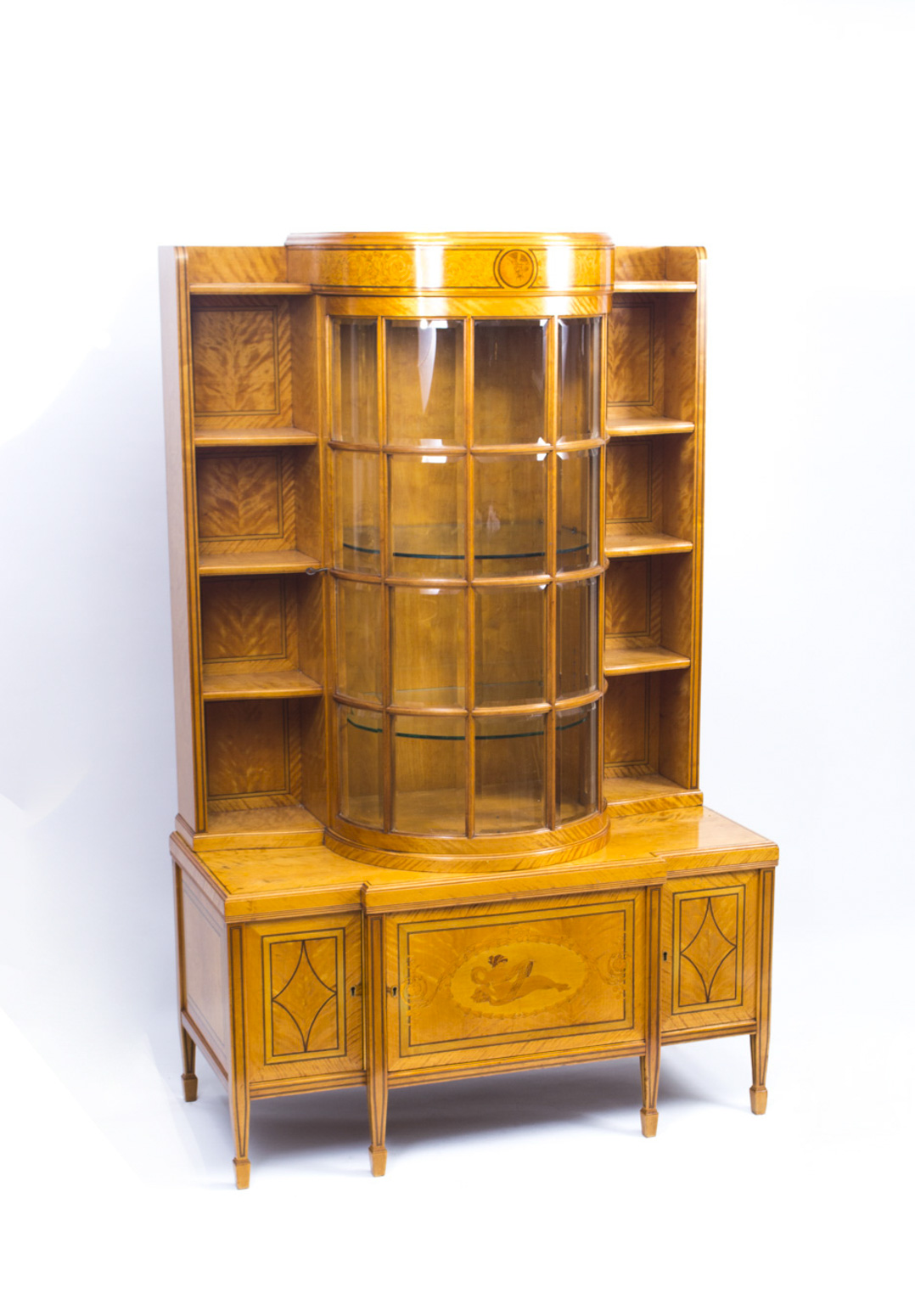 Antique late victorian satinwood display cabinet for 1890 kitchen cabinets