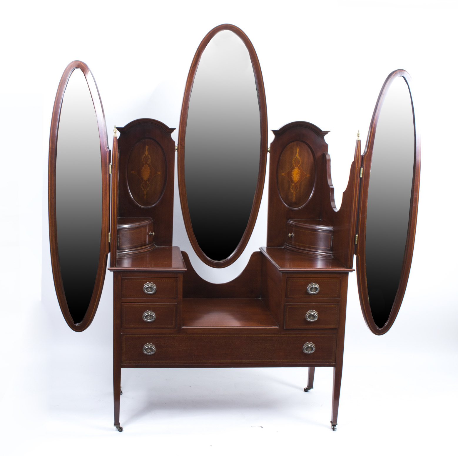 Antique dressing table with mirror - Antique Edwardian Mahogany Triple Mirror Dressing Table