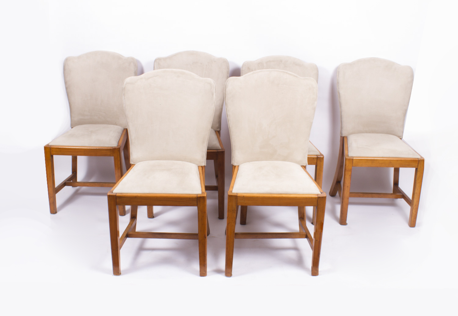 Antique set 6 walnut art deco dining chairs epstein c1930 for Examples of art deco furniture