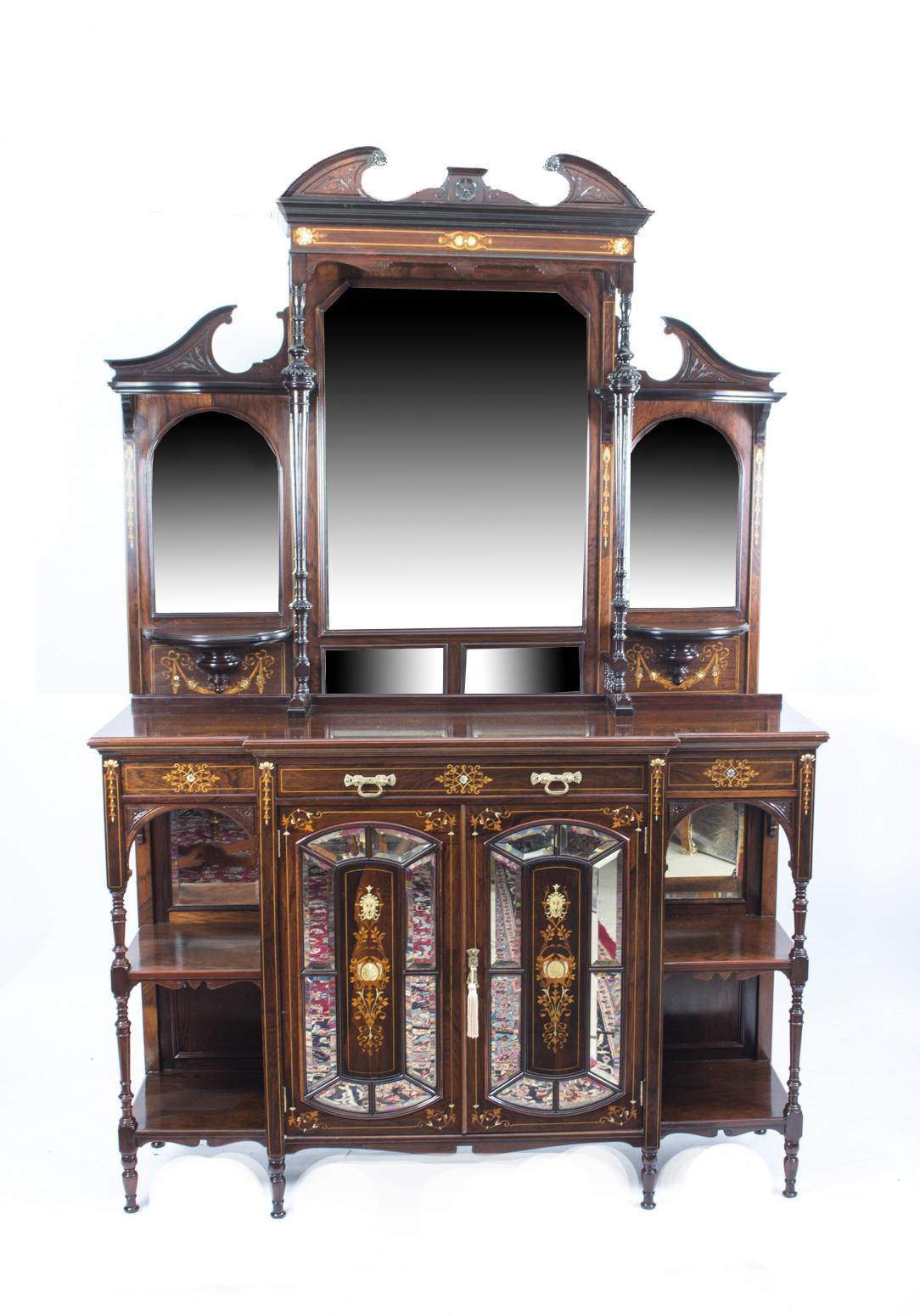 Antique Victorian Inlaid Rosewood Cabinet c.1890