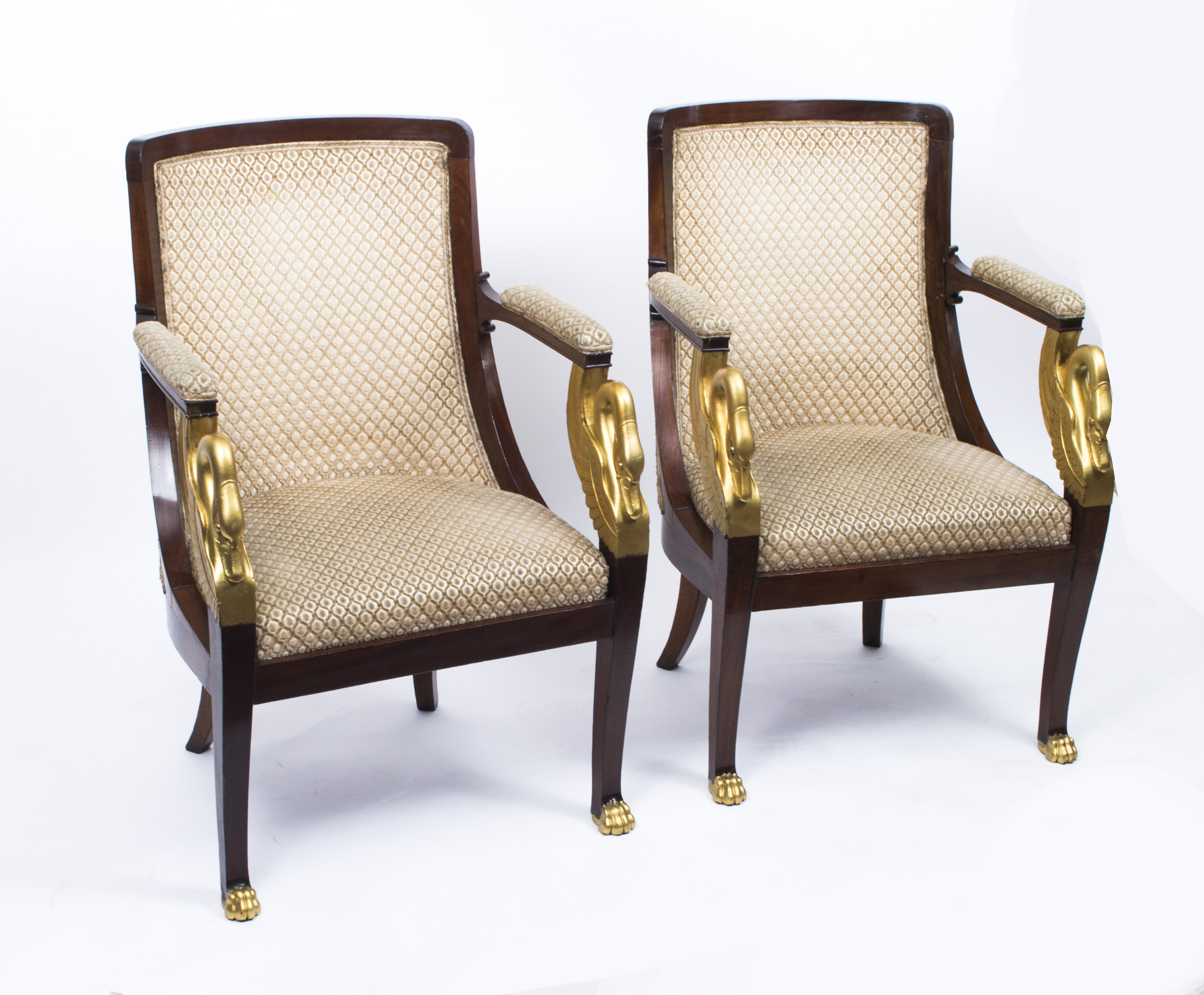 Antique Pair Empire Gilded Swan Neck Gany Armchairs C 1820 Ref No 07208