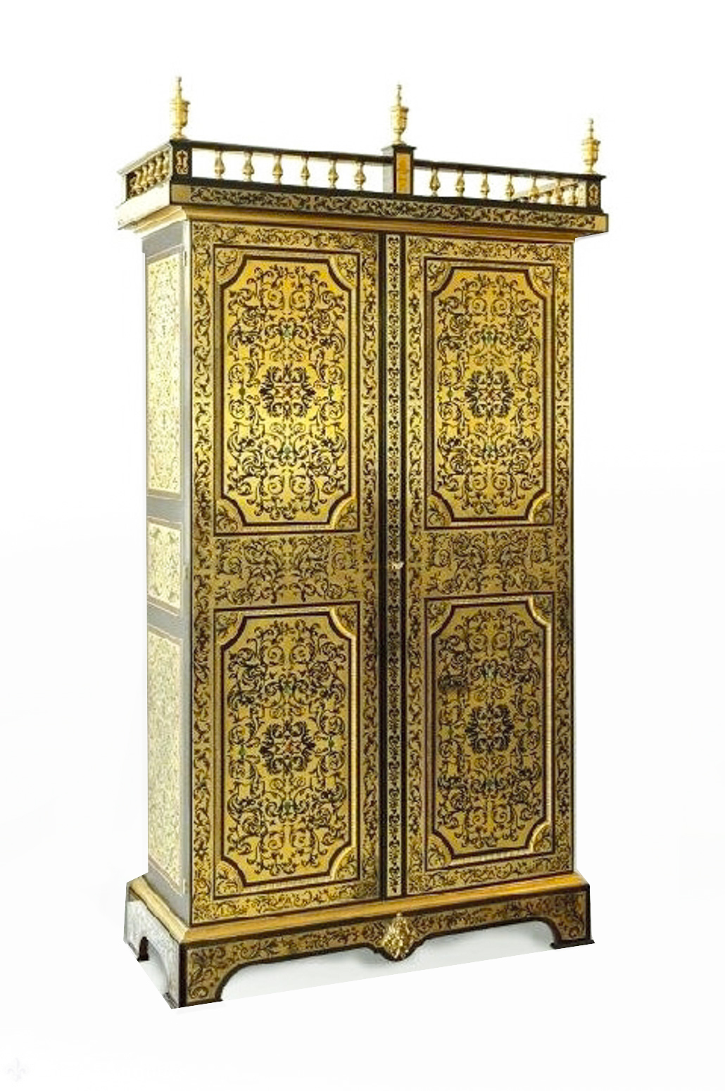 Antique French Cut Brass Inlaid Cabinet Wardrobe C 1910