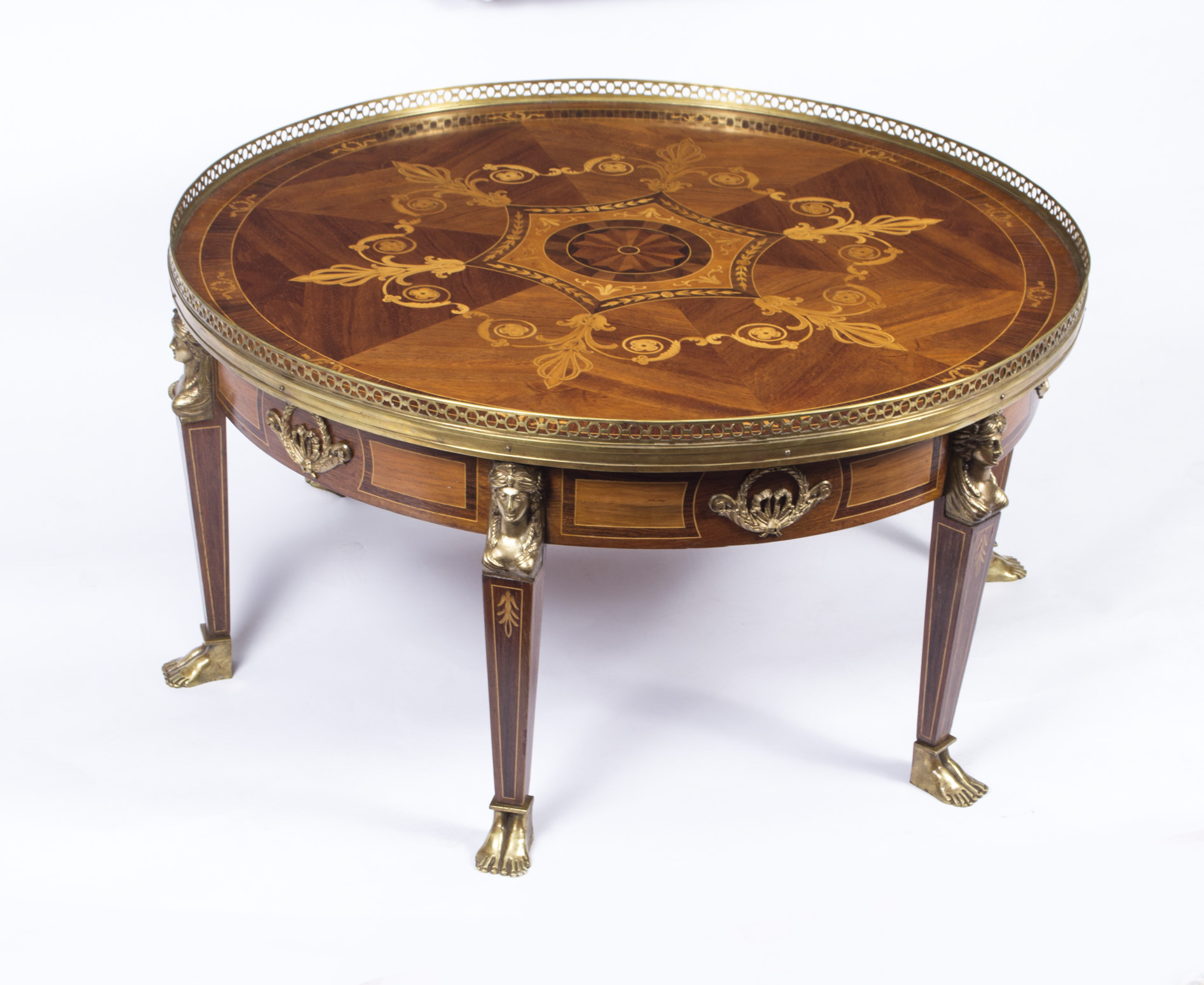 Vintage French Empire Style Marquetry Coffee Table C1970