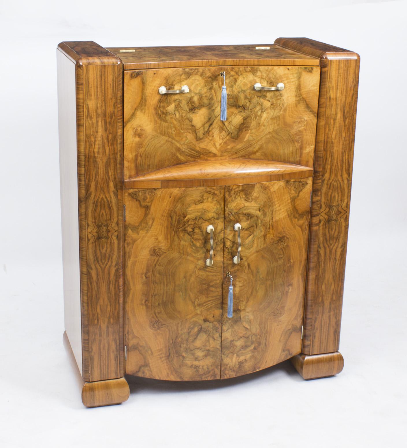 antique art deco burr walnut cocktail cabinet bar ref no 07615. Black Bedroom Furniture Sets. Home Design Ideas
