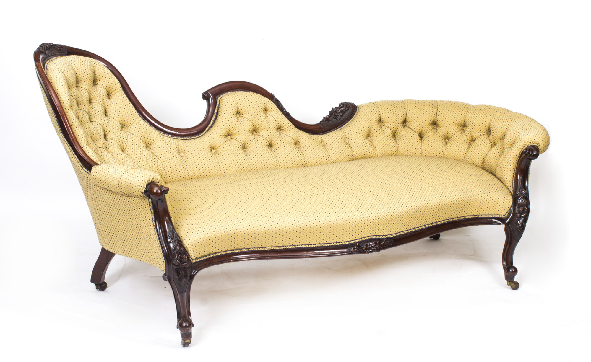 Antique victorian walnut sofa chaise longue settee for Antique victorian chaise lounge
