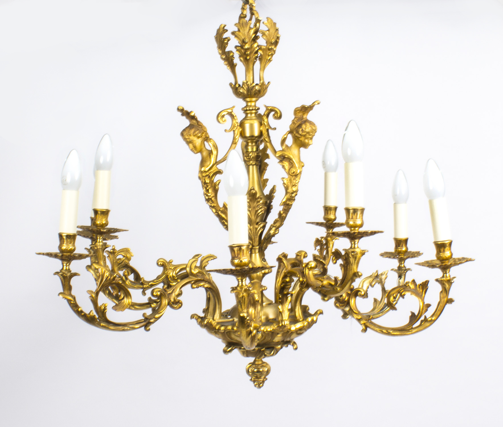 Antique French Louis Xiv Style Nine Branch Ormolu Chandelier 19th Century Ref No 08253