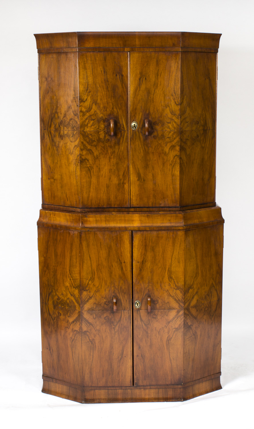 Antique Art Deco Burr Walnut Cocktail Cabinet Or Dry Bar C