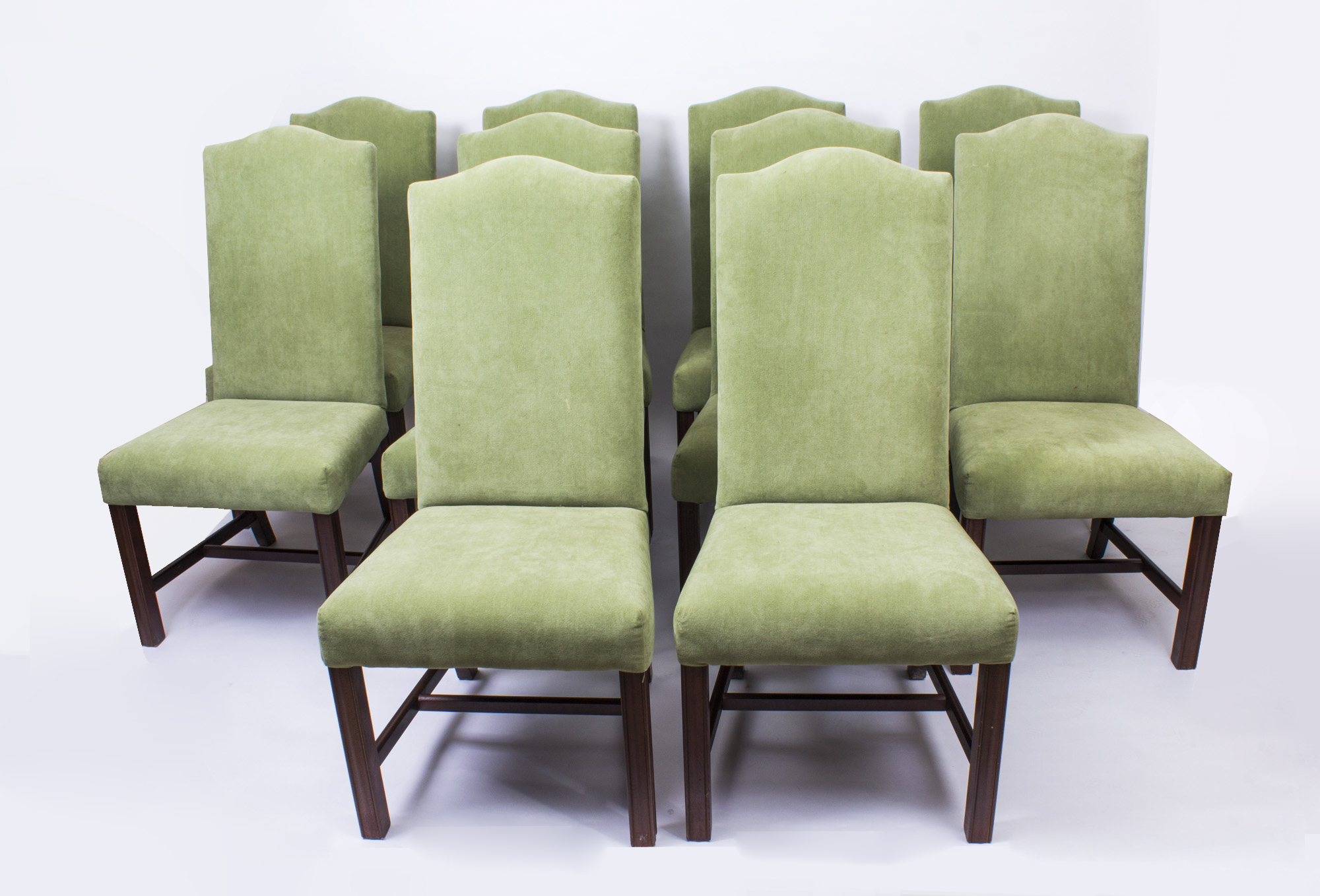 Set Of Vintage High Back Dining Chairs