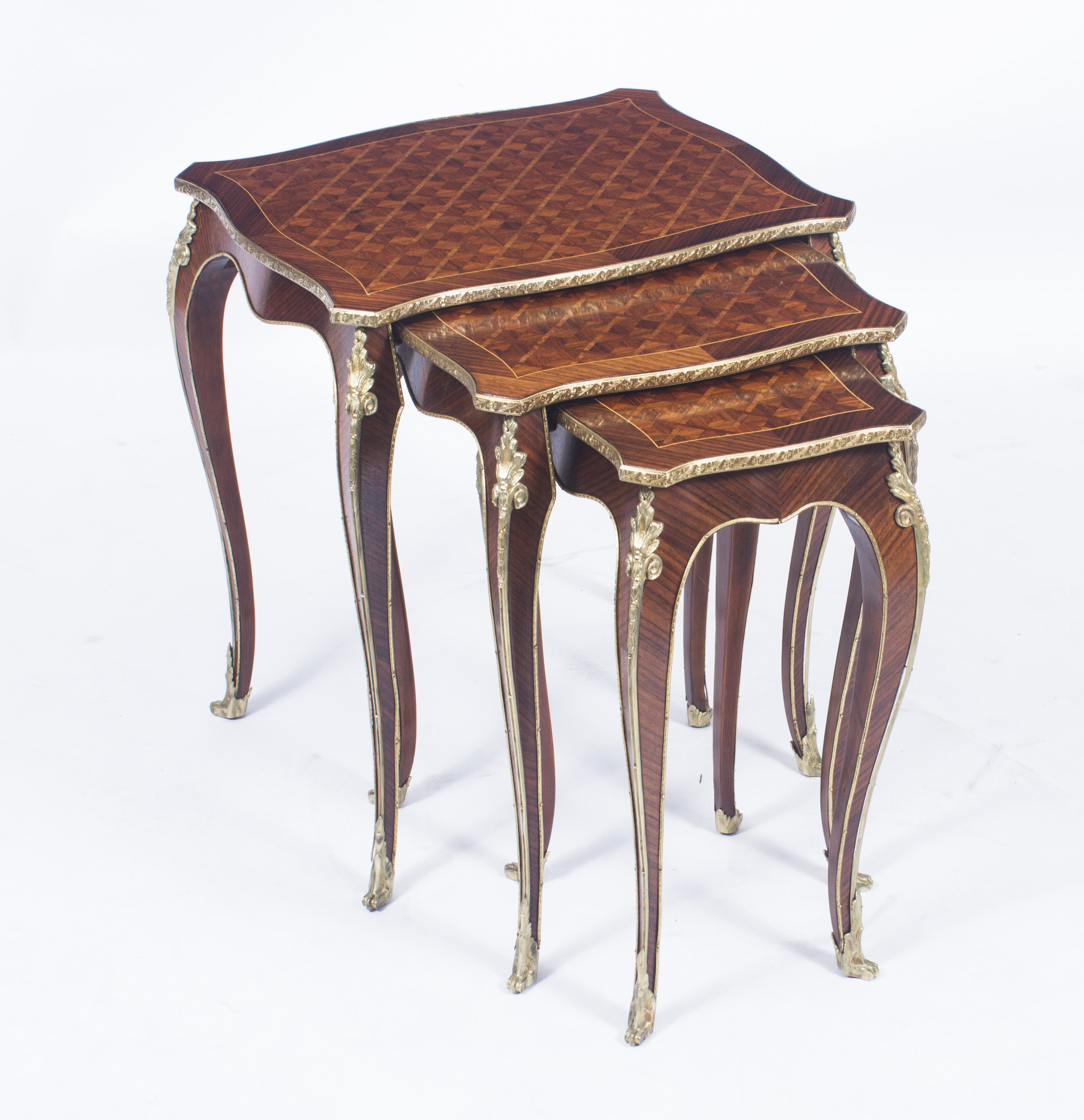 French Parquetry Coffee Table: Antique French Parquetry & Ormolu Mounted Nest Tables