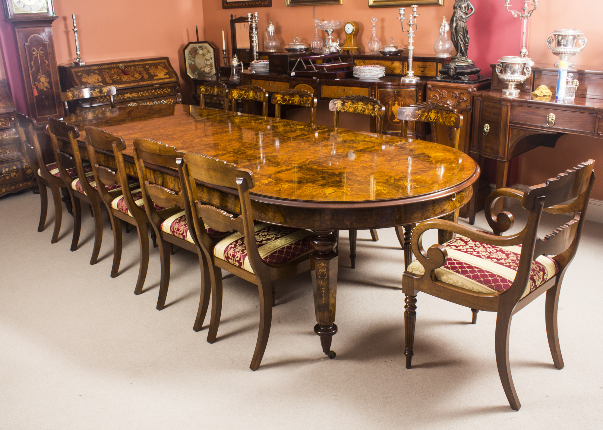 Bespoke 12ft Handmade Burr Walnut Marquetry Dining Table