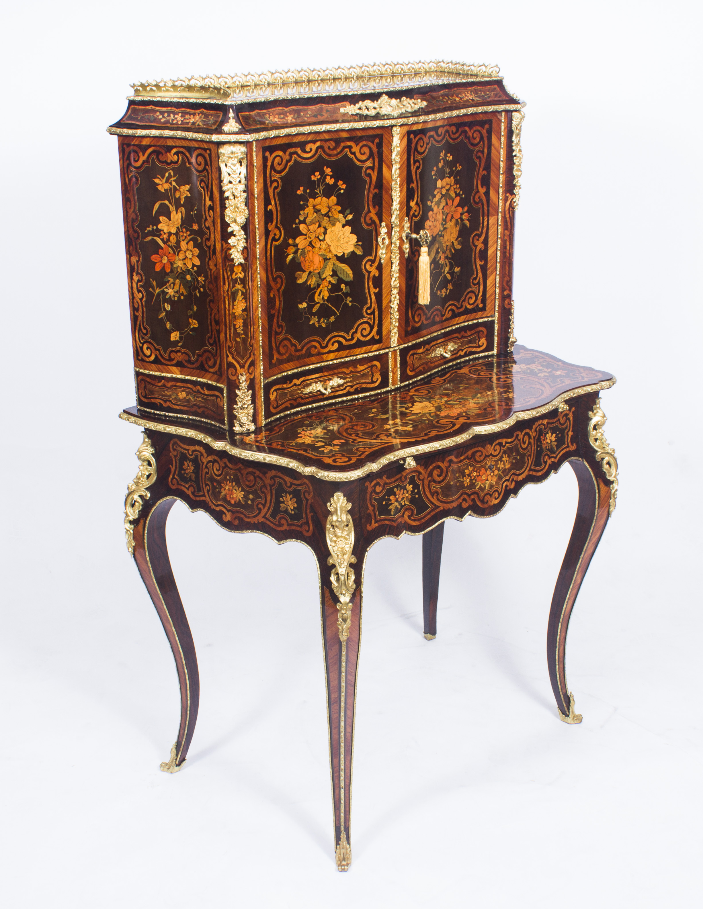 louis revival marquetry antique bonheur du jour. Black Bedroom Furniture Sets. Home Design Ideas