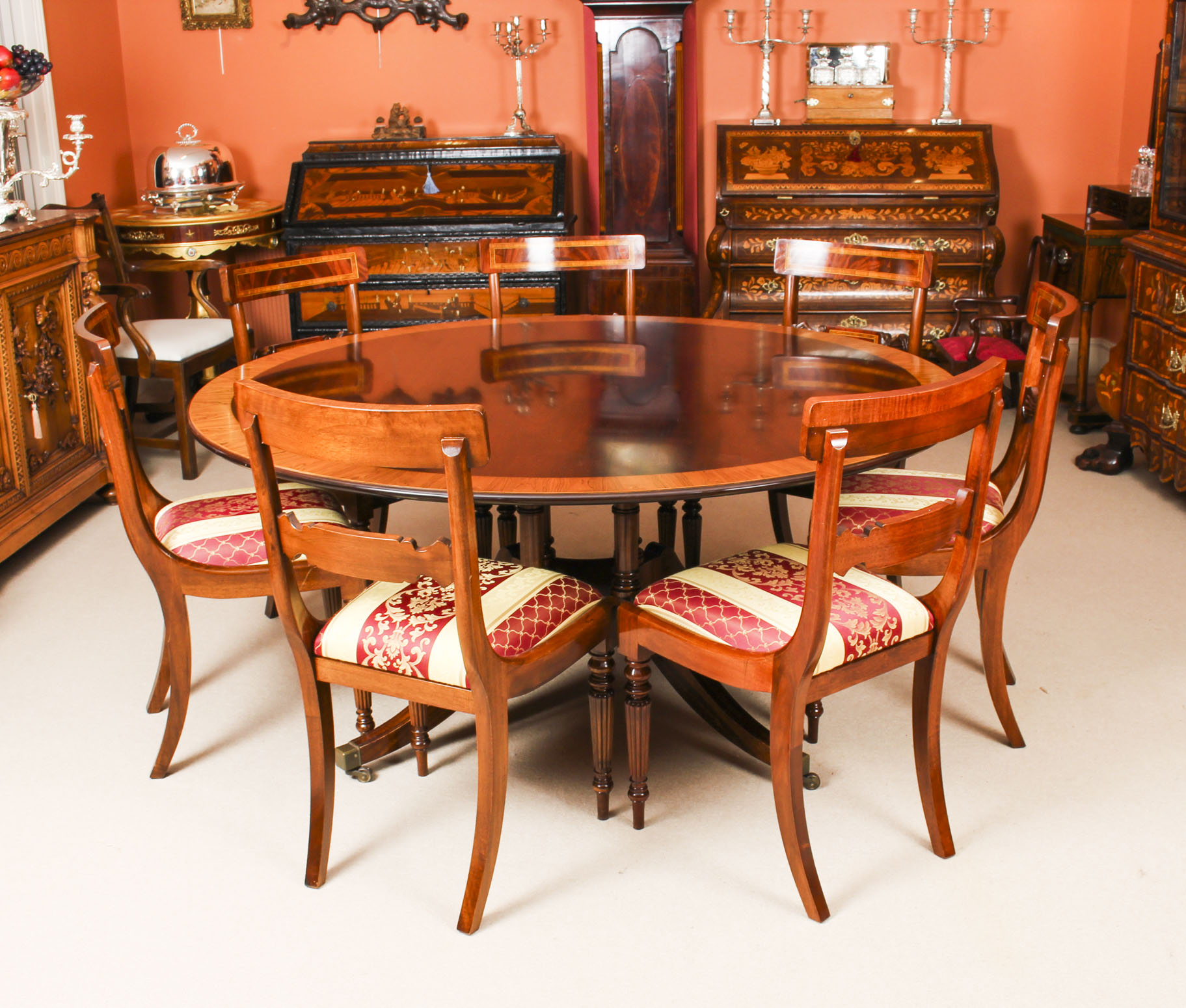 Vintage 5ft 6 Round Table By Millwood Dining Chairs 20th Century