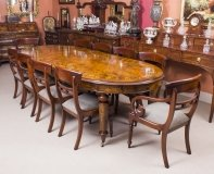 Superb Bespoke Handmade Burr Walnut Marquetry Dining Table 10 Chairs
