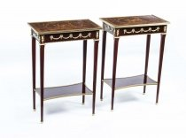 Pair of Louis XVI Mahogany Marquetry Occasional Tables