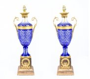 Pair Blue Cut Glass & Ormolu Empire Style Lamps Wired