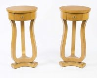 Pair of Biedermeier Style Satin Birch Bedside Cabinets