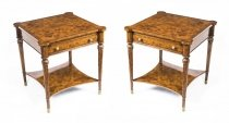 Fab Pair Burr Walnut Side Tables with Slides & Drawers