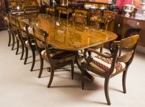 Bespoke 10 ft Burr Walnut Regency Style Twin Pillar Dining Table & 10 Chairs