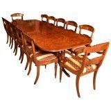 Superb 10 ft Burr Walnut Regency Style Twin Pillar Dining Table & 12 Chairs