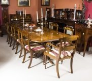 Superb 10 ft Burr Walnut Regency Style Twin Pillar Dining Table & 10 Chairs