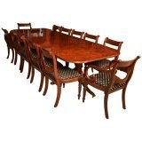 Stunning 10 ft Burr Walnut Regency Style Twin Pillar Dining Table 12 Swag Chairs