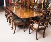 Burr Walnut 10ft Regency Style Dining Table 12 Tulip Back Chairs