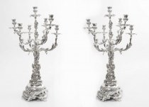 Pair Sheffield Silver Plated Rococo Style Candelabra