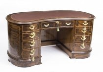Vintage Victorian Style Burr Walnut Kidney Shaped Desk