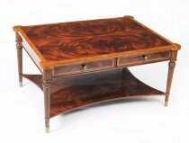 Elegant Flame Mahogany Coffee Table With Four Drawers 20th C