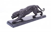 Stunning Bronze Panther Sculpture on a Marble Base