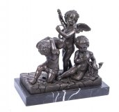 Charming Trio of Cherub Musicians Bronze Sculpture