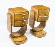 Pair Art Deco Style Birdseye Maple Bedside Cabinets