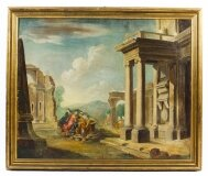 Antique Oil Painting & 39 Classical Roman Ruins& 39 19th C