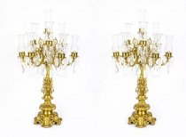 Huge Pair Italian Gilded Bronze Crystal Candelabras Lamps