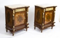 Large Pair Marble Top Empire Side Tables Bedside Cabinets