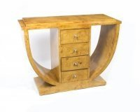 Beautiful Art Deco Style Birdseye Maple Console Table