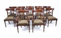 Grand Set 16 English Regency Style Bar Back Dining Chairs