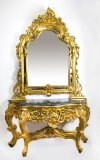 Vintage Louis Revival Carved Giltwood Console Table Mirror 20th C