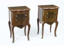 Stunning Pair French Empire Inlaid Burr Walnut Cabinets