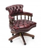 English Hand Made Leather Captains Desk Chair Ox Blood