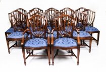 Bespoke Set 16 English Hepplewhite Revival Dining Chairs 20th Century