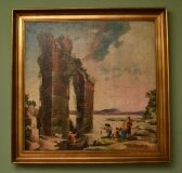 Vintage Oil Painting Classical Roman Ruins 20th Century