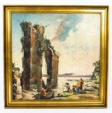 Vintage Palladian Oil Painting Classical Roman Ruins 20th Century