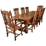 Solid Oak Refectory Dining Table & 8 Carolean Chairs