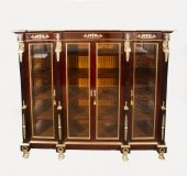 Empire Style Flame Mahogany & Ormolu Mounted Bookcase