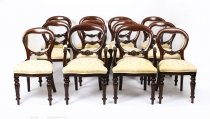 Set 12 Victorian Style Balloon Back Mahogany Dining Chairs 20th C