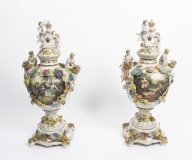 Pair Large Dresden Style Hand Painted Porcelain Vases 20thC