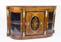 Antique Victorian Burr Walnut Marquetry Ormolu Mounted Credenza
