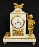 Antique French White Marble Ormolu Mantel Clock