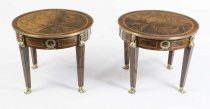 Pair of French Empire Style Burr Walnut Coffee Tables